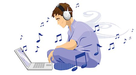 Man downloading music from internet Stock Photo - Premium Royalty-Free, Code: 630-03482476