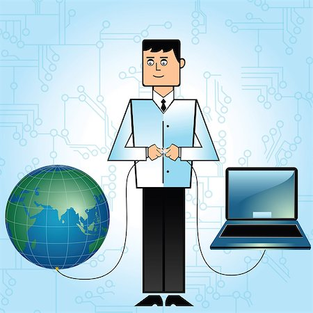 Businessman connecting world with network Stock Photo - Premium Royalty-Free, Code: 630-03482534