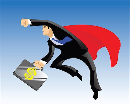 superior - Superhero flying with a briefcase of dollar sign Stock Photo - Premium Royalty-Free, Code: 630-03482561