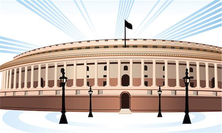 Facade of a government building, Sansad Bhawan, New Delhi, India Stock Photo - Premium Royalty-Free, Code: 630-03482570
