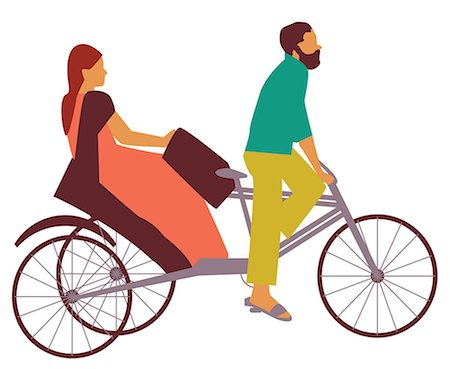 Woman riding a pedicab, India Stock Photo - Premium Royalty-Free, Code: 630-03482587