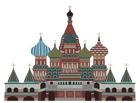 Facade of a cathedral, St. Basil's Cathedral, Red Square, Moscow, Russia Stock Photo - Premium Royalty-Free, Code: 630-03482589