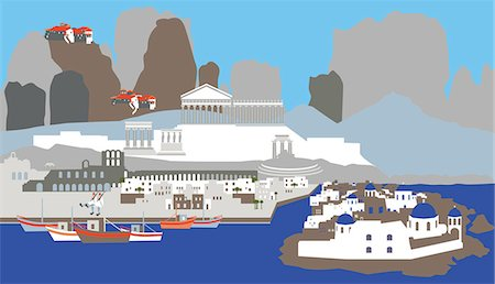 Illustration showing top tourist attractions in Greece Stock Photo - Premium Royalty-Free, Code: 630-03482583