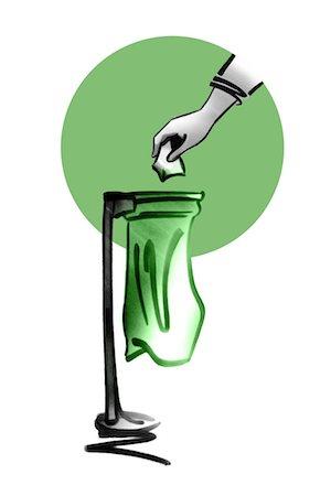 Hand throwing trash away in garbage bag Stock Photo - Premium Royalty-Free, Code: 632-05554268
