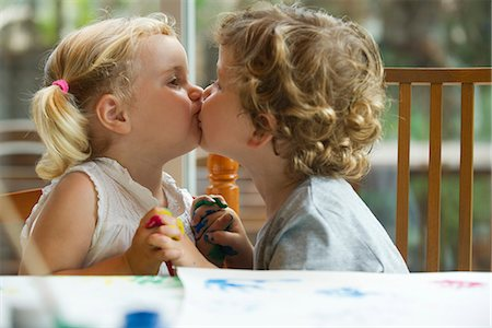 Little boy and girl kissing Stock Photo - Premium Royalty-Free, Code: 632-05604232