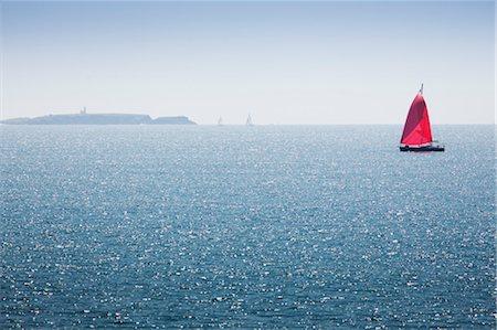 sailboat  ocean - Sailboat off the coast of Belle-Ile-en-Mer, Morbihan, Brittany, France Stock Photo - Premium Royalty-Free, Code: 632-05759604