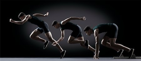 Sequence of male athlete running from starting line Stock Photo - Premium Royalty-Free, Code: 632-05816431