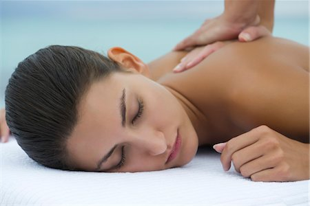 Young woman receiving back massage, cropped Stock Photo - Premium Royalty-Free, Code: 632-05816618