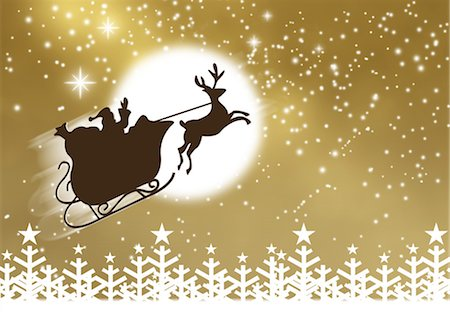 Silhouette of Santa Claus and his sleigh flying in nighttime sky Stock Photo - Premium Royalty-Free, Code: 632-05817162