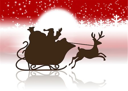 Silhouette of Santa Claus's sleigh and reindeer Stock Photo - Premium Royalty-Free, Code: 632-05817163