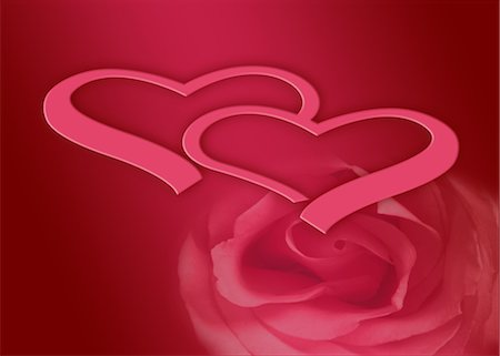flower graphic - Hearts and rose on red background Stock Photo - Premium Royalty-Free, Code: 632-05817195