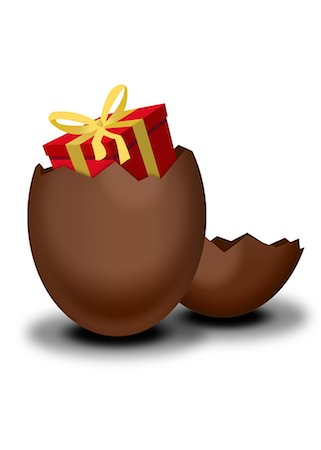 Chocolate Easter egg containing wrapped gift Stock Photo - Premium Royalty-Free, Code: 632-05817192