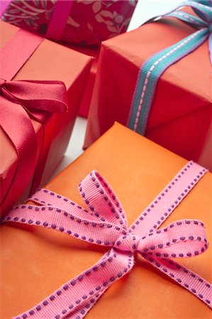 present wrapped close up - Festively wrapped gifts Stock Photo - Premium Royalty-Free, Code: 632-05992303