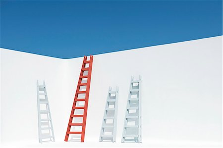 Ladders leaning against wall Stock Photo - Premium Royalty-Free, Code: 632-06118345