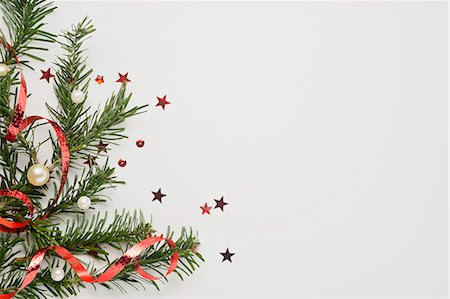 Christmas decorations on white background Stock Photo - Premium Royalty-Free, Code: 632-06118769