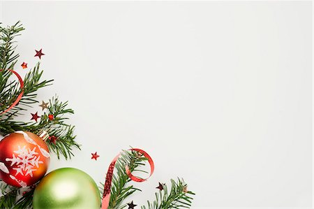 Christmas decorations on white background Stock Photo - Premium Royalty-Free, Code: 632-06118798