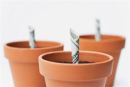 One-hundred dollar bills planted in flower pots Stock Photo - Premium Royalty-Free, Code: 632-06317160