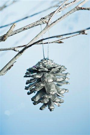 Silver pine cone ornament Stock Photo - Premium Royalty-Free, Code: 632-06354169