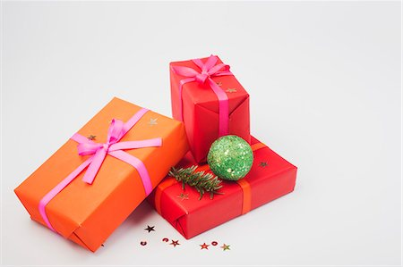 Festively wrapped Christmas presents Stock Photo - Premium Royalty-Free, Code: 632-06354248