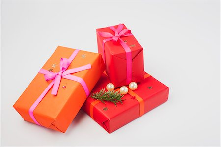 Festively wrapped Christmas presents Stock Photo - Premium Royalty-Free, Code: 632-06354437