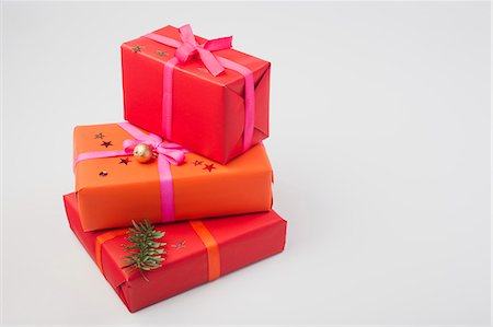 Festively wrapped Christmas presents Stock Photo - Premium Royalty-Free, Code: 632-06353993
