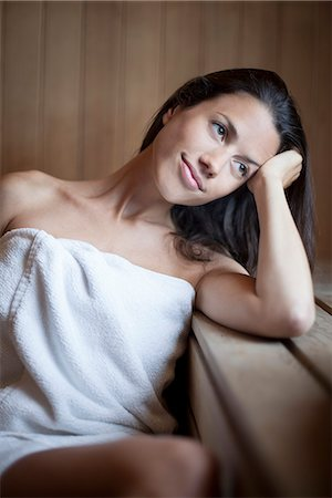 Woman relaxing in sauna Stock Photo - Premium Royalty-Free, Code: 632-07809454