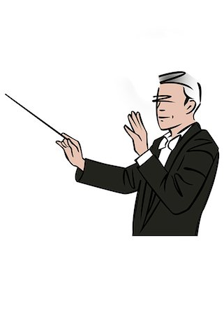 Illustration of a musical conductor Stock Photo - Premium Royalty-Free, Code: 632-08227887