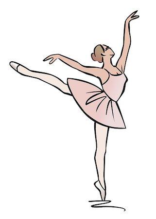 Illustration of ballerina performing an arabesque Stock Photo - Premium Royalty-Free, Code: 632-08227890