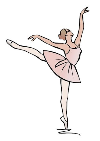 Illustration of ballerina performing an arabesque Stock Photo - Premium Royalty-Free, Code: 632-08227890