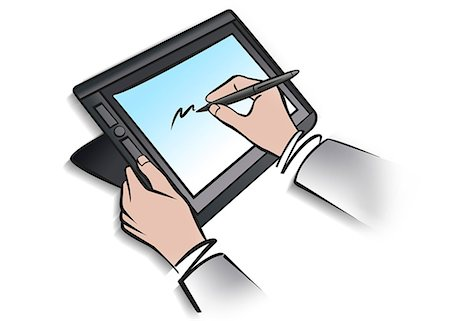 drawing computer - Illustration of person using digital tablet and stylus Stock Photo - Premium Royalty-Free, Code: 632-08227912
