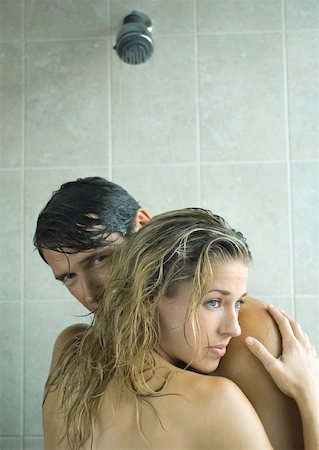 Couple embracing in shower Stock Photo - Premium Royalty-Free, Code: 632-01156306