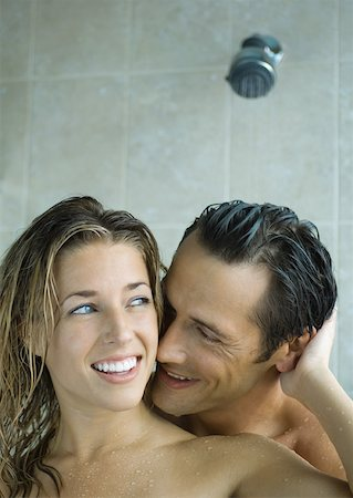 Couple taking shower together Stock Photo - Premium Royalty-Free, Code: 632-01161096