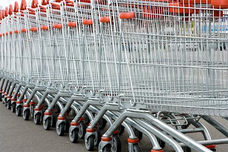empty shopping cart - Row of shopping carts Stock Photo - Premium Royalty-Free, Code: 632-03193748