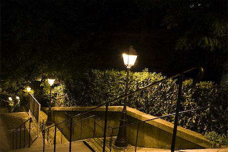 France, Paris, Montmartre, stairs lit by street lamps at night Stock Photo - Premium Royalty-Free, Code: 632-03500688