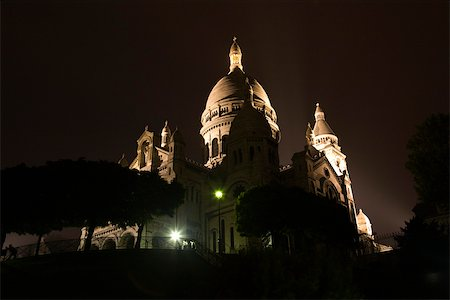 France, Paris, Montmartre, view of Sacre Coeur at night Stock Photo - Premium Royalty-Free, Code: 632-03500697