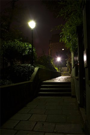 Stairs lit by street lamps, Montmartre, Paris, France Stock Photo - Premium Royalty-Free, Code: 632-03500700