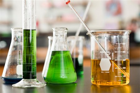 Chemicals in beakers Stock Photo - Premium Royalty-Free, Code: 632-03516578