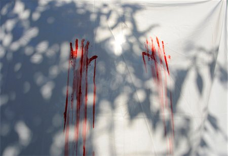 dripping blood - Red handprints on white sheet Stock Photo - Premium Royalty-Free, Code: 632-03779428