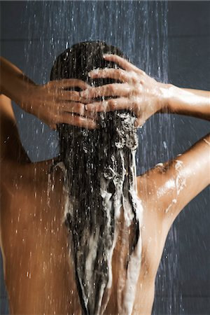 Woman washing her hair in shower Stock Photo - Premium Royalty-Free, Code: 632-03847640