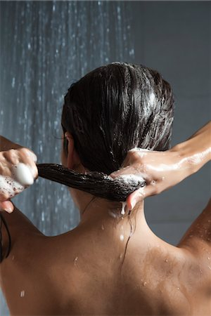 Woman washing her hair in shower Stock Photo - Premium Royalty-Free, Code: 632-03847911
