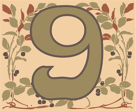flower graphic - Number 9 with floral pattern Stock Photo - Premium Royalty-Free, Code: 632-03898279