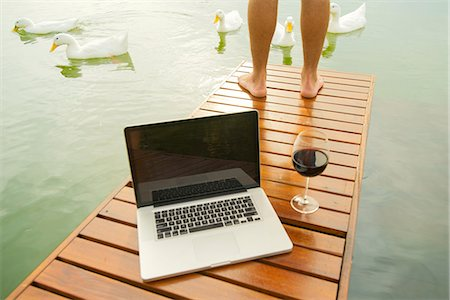 five animals - Man standing on lake dock, laptop computer and wine glass in foreground Stock Photo - Premium Royalty-Free, Code: 633-08150925