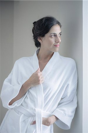 Woman relaxing in bathrobe Stock Photo - Premium Royalty-Free, Code: 633-08639103