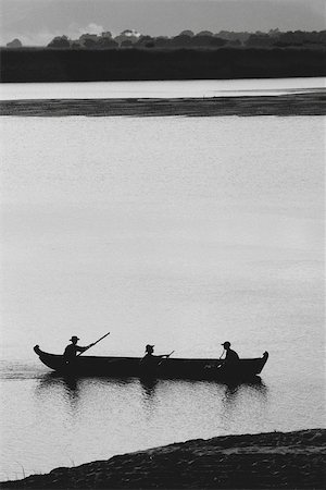 silhouette black and white - Myanmar (Burma), landscape with fishermen and canoe Stock Photo - Premium Royalty-Free, Code: 633-03194681