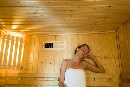 Woman relaxing in sauna Stock Photo - Premium Royalty-Free, Code: 633-03444500