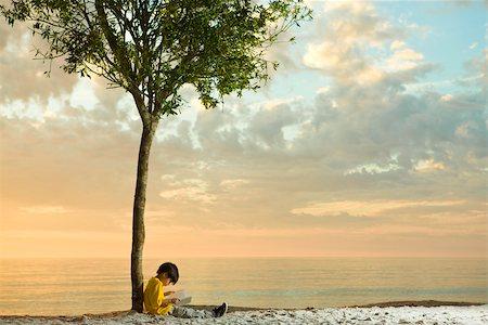 sitting under tree - Boy sitting beneath tree on beach reading book Stock Photo - Premium Royalty-Free, Code: 633-03445012