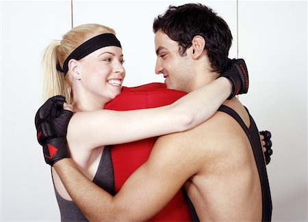 student fighting - Young man and woman flirting in a fitness class Stock Photo - Premium Royalty-Free, Code: 644-01436680