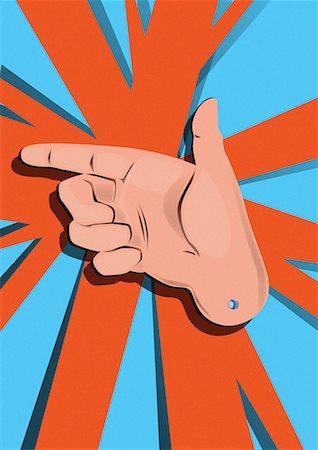 "right - Hand sign ""gun"" Stock Photo - Premium Royalty-Free, Code: 645-01538202"