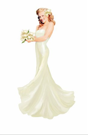 doing sex - Pinup girl dressed in white gown with flowers Stock Photo - Premium Royalty-Free, Code: 645-01538366