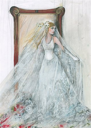 Bride in her wedding dress in front of mirror Stock Photo - Premium Royalty-Free, Code: 645-01538363